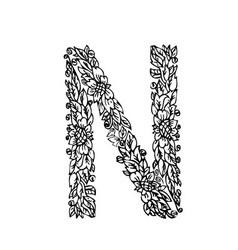 letters floral n vector image