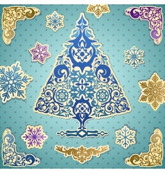 Scrapbooking card with stylized Christmas tree vector image vector image