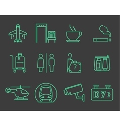 Airport navigation icons set vector image vector image