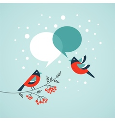 Christmas tree with birds and speech bubbles vector image vector image