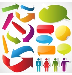 color arrows speech bubbles and people icons vector image vector image