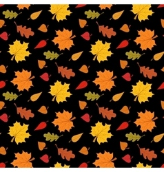 Fall season seamless pattern with leafs on black vector image