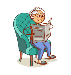 grandfather reading a newspaper vector image