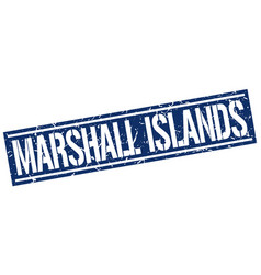 Marshall islands blue square stamp vector