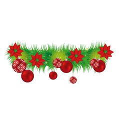 wreath with christmas flowers and red garlands vector image vector image