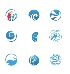 Blue Sea Icons Set vector image