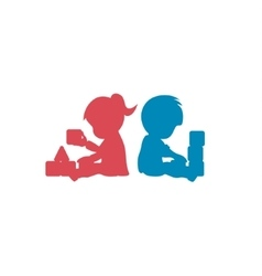 Children playing with toys brother and sister vector