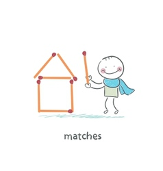 Man and matches vector image