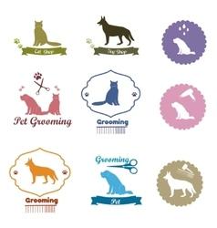 Pet shop emblem set vector image