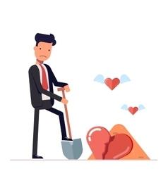 Sad man digs a broken heart businessman o vector image vector image