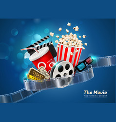 Cinema movie theater object on sparkling light vector