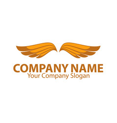 company name emblem with orange bird wings vector image vector image