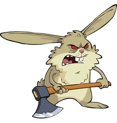 evil bunny with an ax vector image