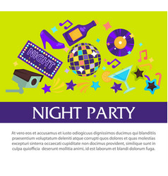 night party promotional banner with big sign and vector image vector image