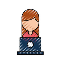 People with laptop work network communication vector
