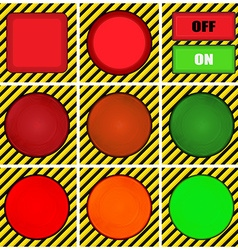 set of round square and rectangular buttons on the vector image vector image