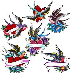 swallow tattoo set vector image vector image