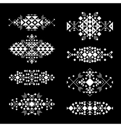 Tribal white elements on black background vector image