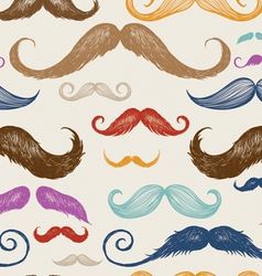 Vintage Mustache Seamless Pattern vector image vector image