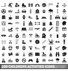 100 children activities icons set simple style vector image