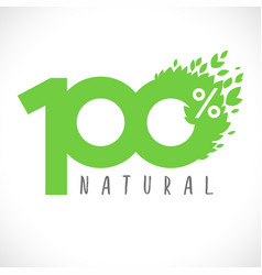 100 percent natural retail logo vector