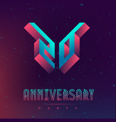 20 anniversary night party space poster vector
