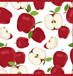 apple seamless pattern and slice dropping on vector image