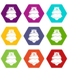 baby dress icons set 9 vector image