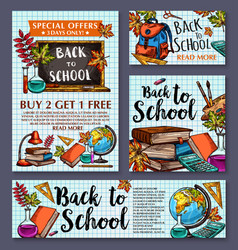 Back to school sale offer poster banner vector