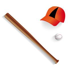 baseball bat equipment ball and baseball cap vector image