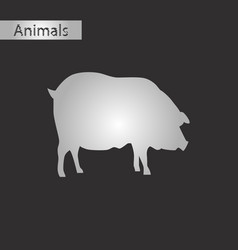 Black and white style icon of pig vector