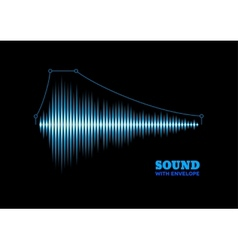 Blue shiny sound waveform with envelope vector image