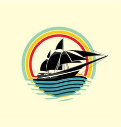 Boat rainbow wave symbol logo element web design i vector