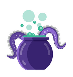 boiling magic cauldron with monster tentacles icon vector image