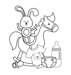 bunny and wooden horse in black and white vector image