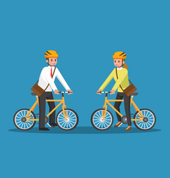 businessman and businesswoman riding bicycle vector image