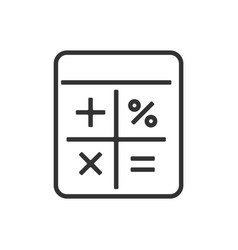 calculator line icon on a white background vector image