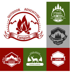 Camping outdoor adventure set logo and badge vector