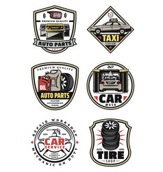 Car repair shop and service garage vintage badges vector