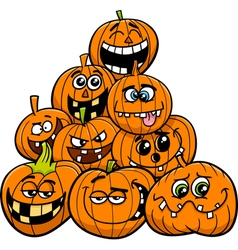Cartoon halloween pumpkins group vector