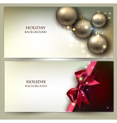 Christmas banners Golden Xmas baubles set vector