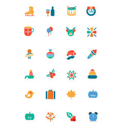 Christmas colored icons 4 vector