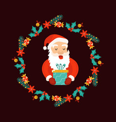 christmas decorative wreath with holiday elements vector image