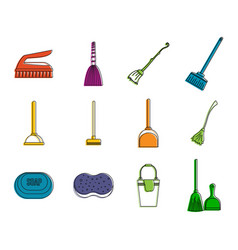 cleaning tool icon set color outline style vector image