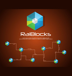 Collection blockchain raiblocks style background vector