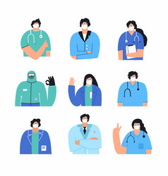 collection doctors and nurses wearing face mask vector image