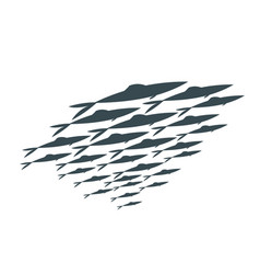 Colored silhouettes groups sea fishes vector