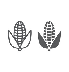 corn line and glyph icon vegetable and diet vector image