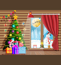 cozy interior room with christmas tree vector image