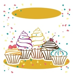 Cupcakes in the vector image